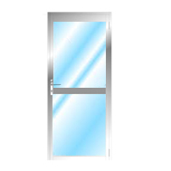 Aluminium Door With Midrail Glazed LH
