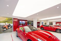 Image of Ferrari and ceiling work done by Pelican Systems