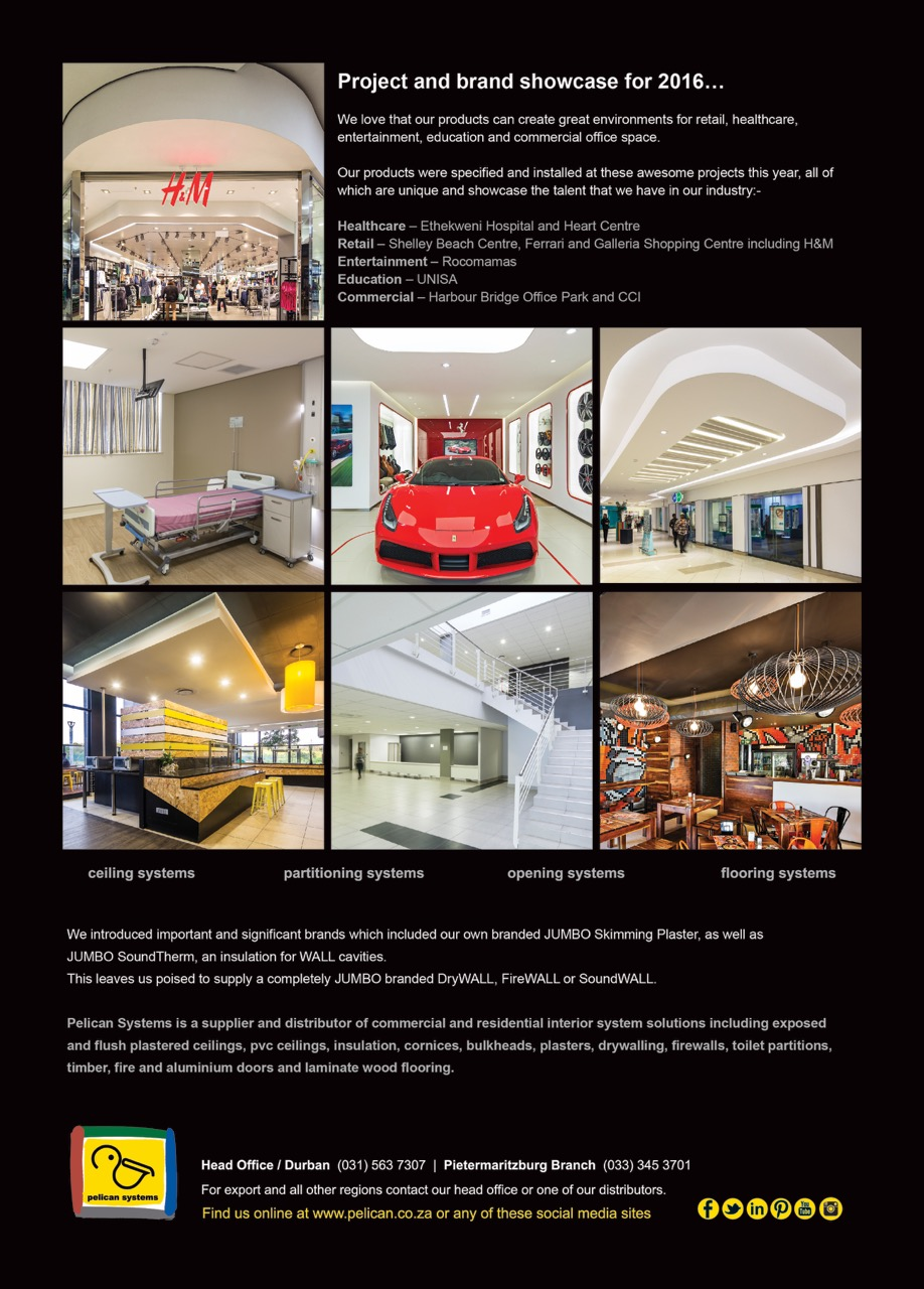 Web version of advert for Walls and Roofs magazine showcasing projects for 2016