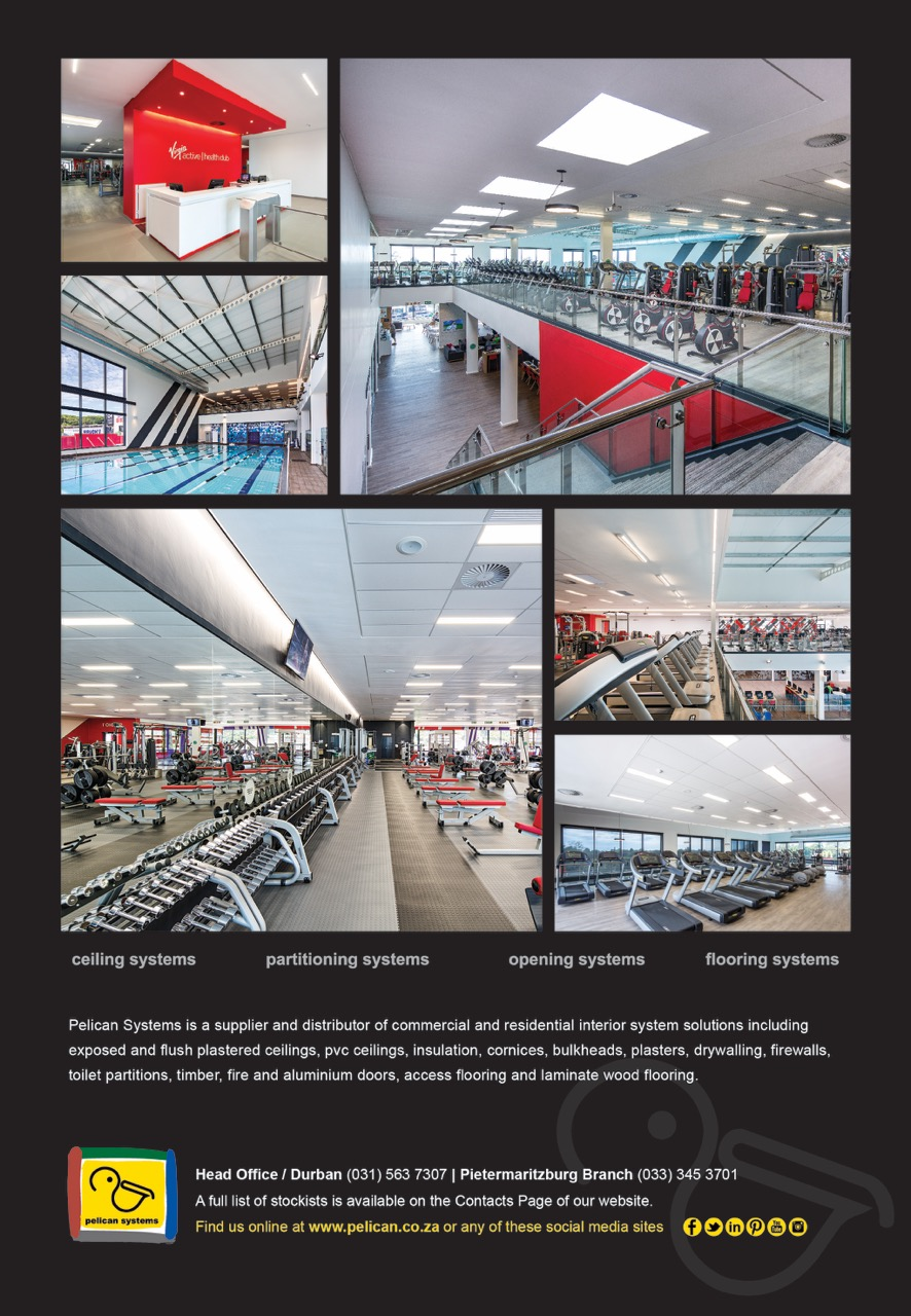 Advert with a collage of images showing the interior of Virgin Active Hillcrest