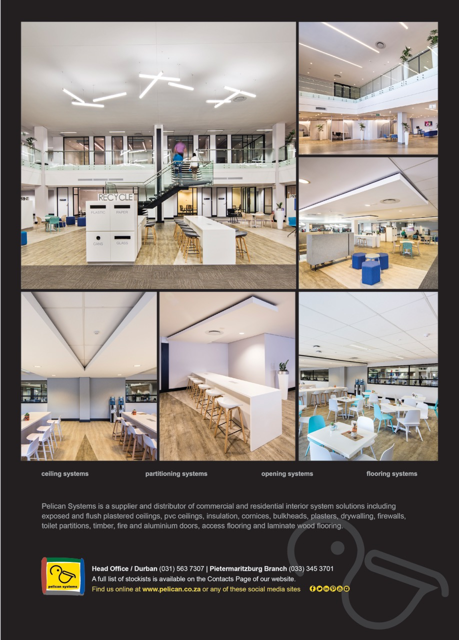 Advert showing a collage of interior ceilings and partitions from MMI Cornubia Call Centre