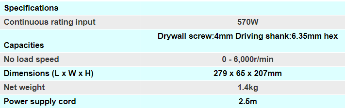 Makita Drywall Drill for Steel Struds Specifications