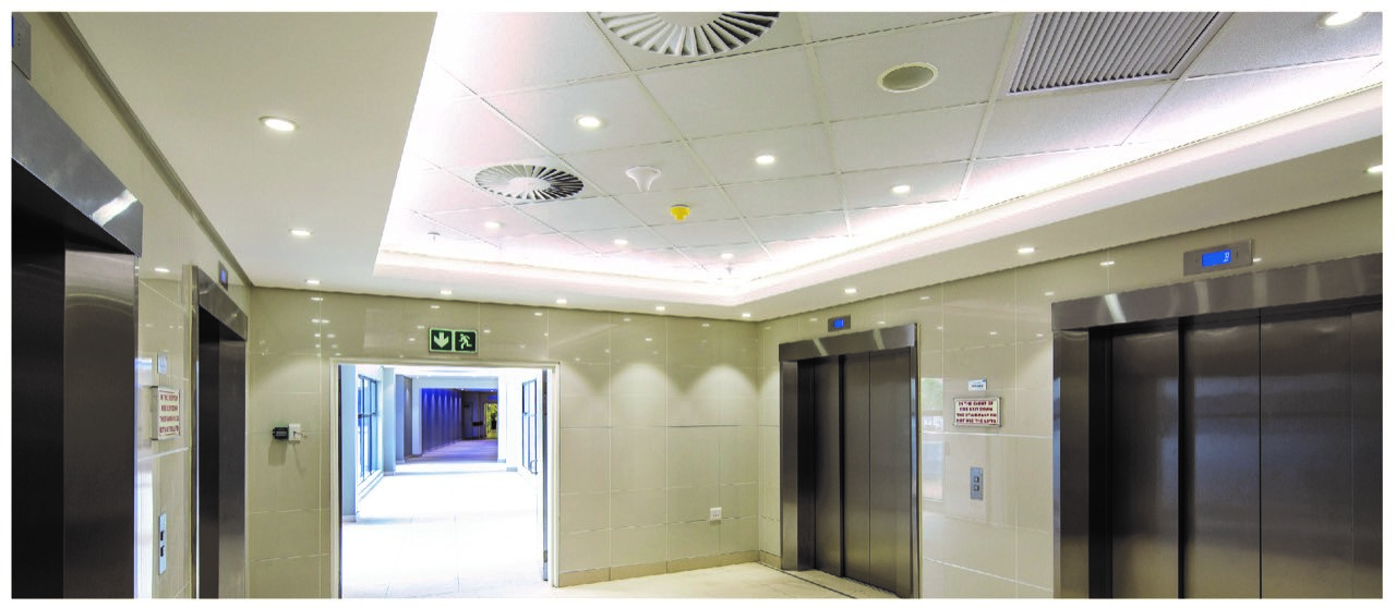 Site image at Ethekweni Hospital showing Firewall Installation in teh Lift Lobby area