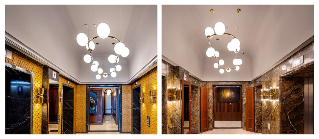 Flush Plastered Ceilings beutifully Skimmed in the Lift Lobbies